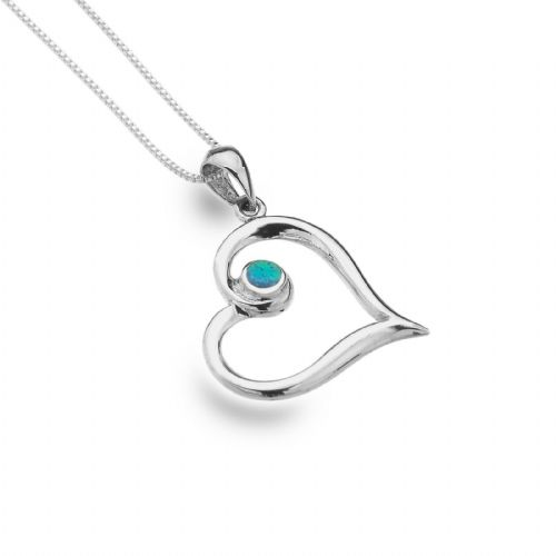 Blue Opal Heart Pendant Necklace Sterling Silver 925 Hallmark All Chain Lengths